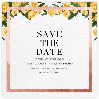 Teablossom (Save the Date) - Rose Gold/Yellow - Paperless Post - Save the dates
