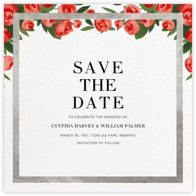 Teablossom (Save the Date) - Silver/Red - Paperless Post - Save the dates