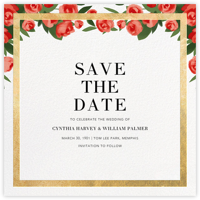 Teablossom (Save the Date) - Gold/Red - Paperless Post - Save the dates