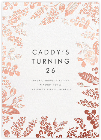 Heather and Lace - White/Rose Gold - Rifle Paper Co. - Adult Birthday Invitations