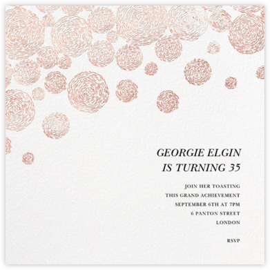 Radiant Swirls (Square) - Rose Gold - Oscar de la Renta - Adult Birthday Invitations
