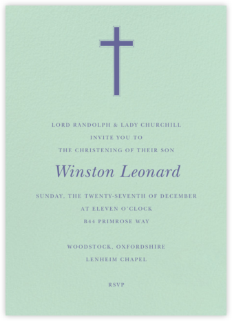Mint - Tall - Paperless Post - Baptism invitations