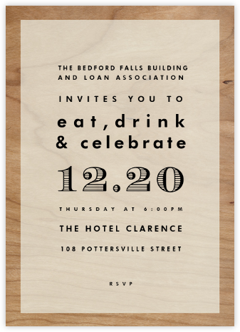 Wood Grain Color Block - White - Paperless Post - Business Party Invitations