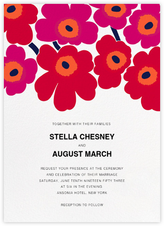 Unikko (Invitation) - Red - Marimekko - Wedding invitations
