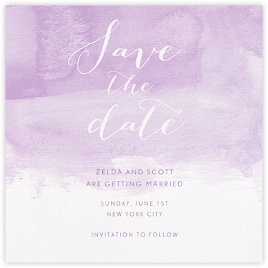 Color Wash (Save the Date) - Lilac - Paperless Post - Save the dates