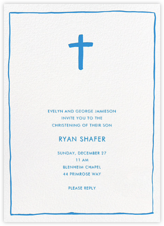 Crux Emblem - Blue - Linda and Harriett - Baptism invitations
