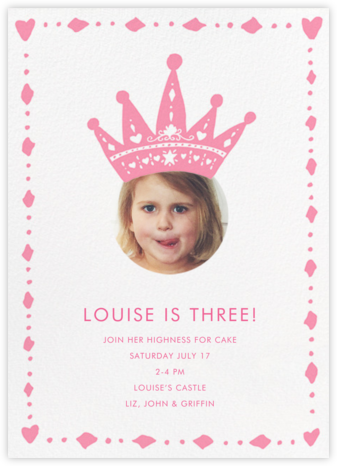 Cutout Crown (Photo) - Linda and Harriett - First Birthday Invitations