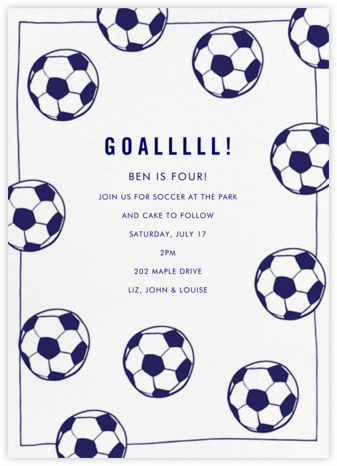 Futbol - Royal Blue - Linda and Harriett - Online Kids' Birthday Invitations