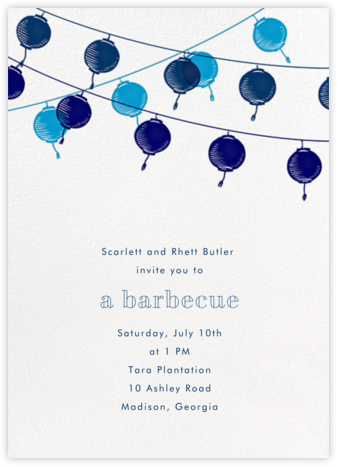 Lanterns - Blue - Paperless Post - Summer Party Invitations