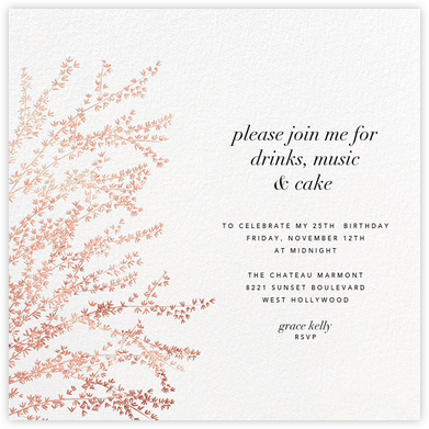 Forsythia - Rose Gold - Paperless Post - Adult Birthday Invitations