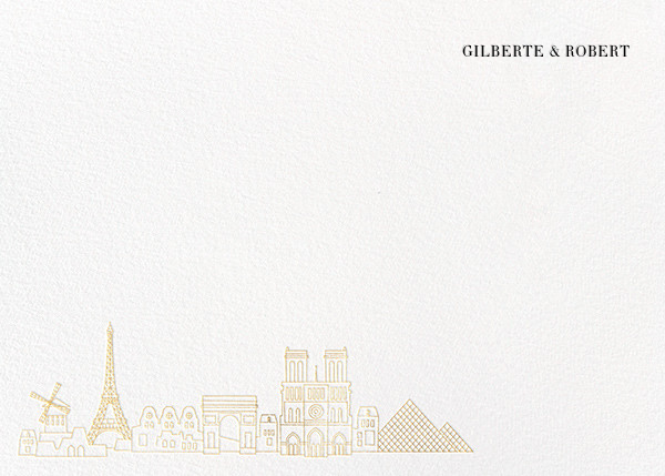 Paris Skyline View (Stationery) - White/Gold - Paperless Post -