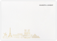 Paris Skyline View (Stationery) - White/Gold