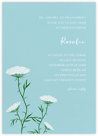 Queen Anne's Lace (Tall) - Light Blue - Paperless Post - Invitations