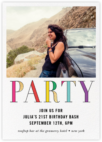 Rainbow Party (Photo) - kate spade new york - Adult Birthday Invitations