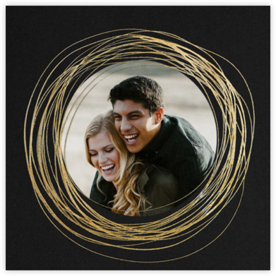 Winter Wreath (Save the Date) - Black/Gold - Paperless Post - Save the dates