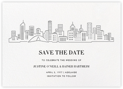 Melbourne Skyline View (Save the Date) - White/Black | null