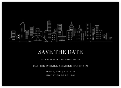 Melbourne Skyline View (Save the Date) - Black/White | null