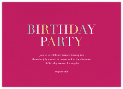 Tricolor Birthday - Dragonfruit - Sugar Paper - Birthday invitations