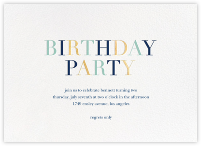 Tricolor Birthday - White/Dark Blue - Sugar Paper -
