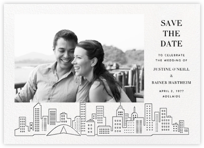 Melbourne Skyline View (Photo Save the Date) - White/Black | null