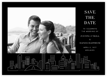 Melbourne Skyline View (Photo Save the Date) - Black/White | null