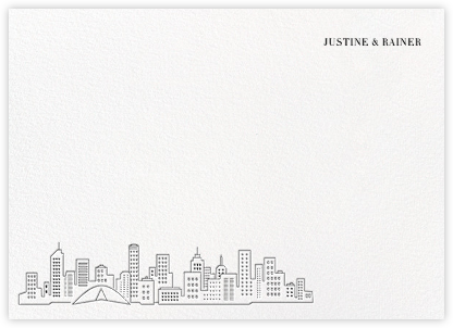 Melbourne Skyline View (Stationery) - White/Black | null