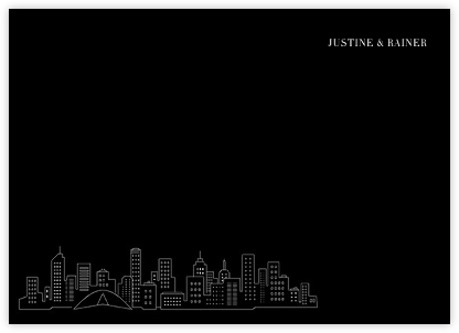Melbourne Skyline View (Stationery) - Black/White | null