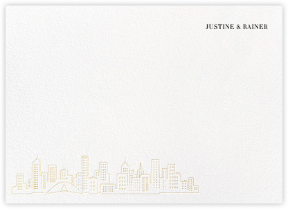 Melbourne Skyline View (Stationery) - White/Gold - Paperless Post
