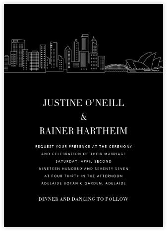 Sydney Skyline View (Invitation) - Black/White   null