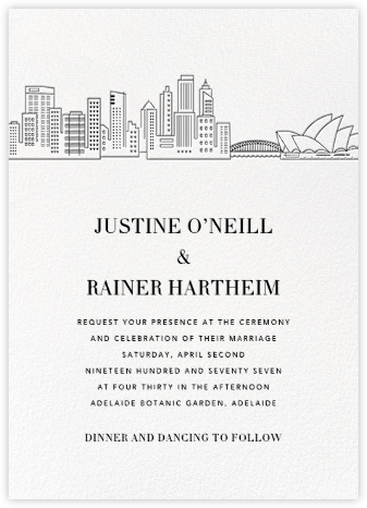 Sydney Skyline View (Invitation) - White/Black | null