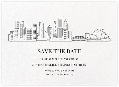 Sydney Skyline View (Save the Date) - White/Black | null
