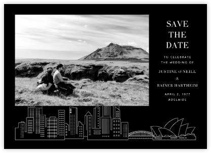 Sydney View (Photo Save the Date) - Black/White   null