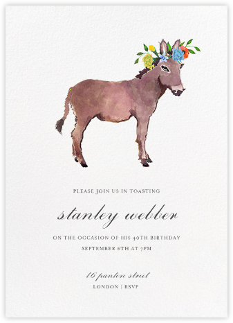 Donkey in the Meadow - Happy Menocal - Adult Birthday Invitations