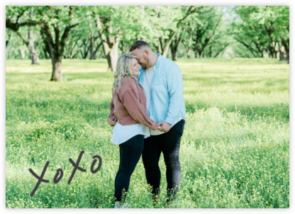 With Hugs and Kisses (Double-Sided) - Slate - Linda and Harriett - Engagement party invitations