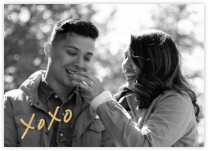 With Hugs and Kisses (Double-Sided) - Gold - Linda and Harriett - Engagement party invitations