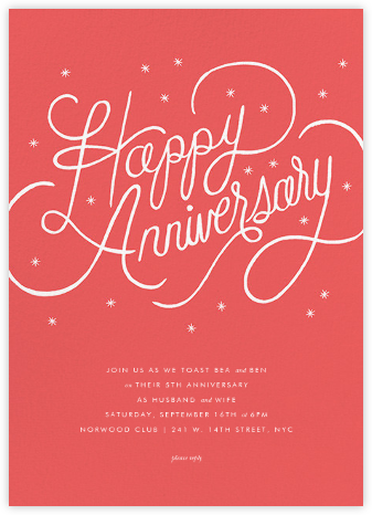 Starlit Anniversary - Coral - Rifle Paper Co. - Online Party Invitations