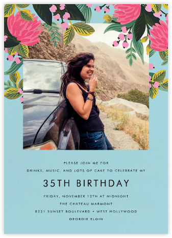 Saigon Blooms (Photo) - Caribbean - Rifle Paper Co. - Adult Birthday Invitations
