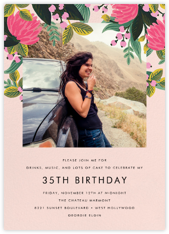 Saigon Blooms (Photo) - Meringue - Rifle Paper Co. - Adult birthday invitations