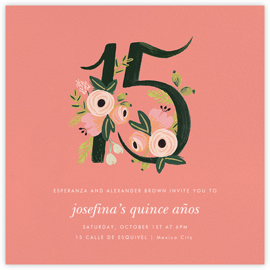 Botanic Numerals (Fifteen) - Pink - Rifle Paper Co. - Quinceañera Invitations