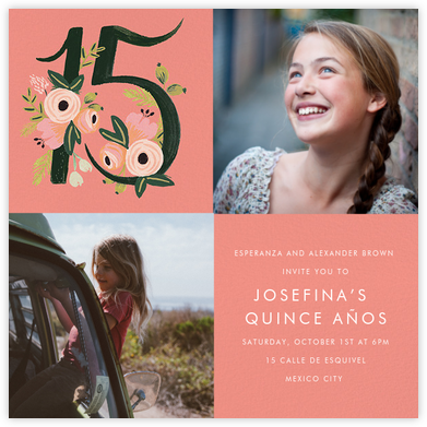 Botanic Numerals Multi-Photo (Fifteen) - Rifle Paper Co. - Quinceañera Invitations