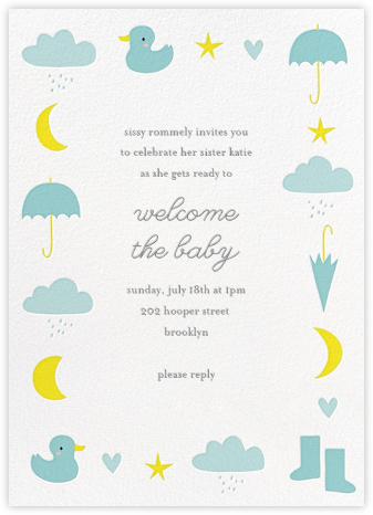 Little Duck's Big Splash - Blue - Little Cube - Baby Shower Invitations