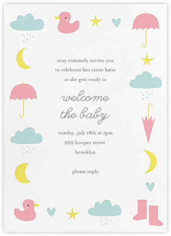 Little Duck's Big Splash - Pink - Little Cube - Baby Shower Invitations