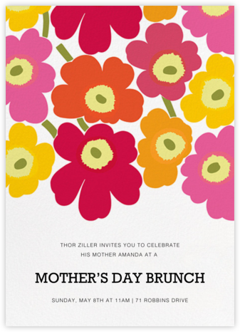 Unikko (Tall) - Pink Multi - Marimekko - Online Mother's Day invitations