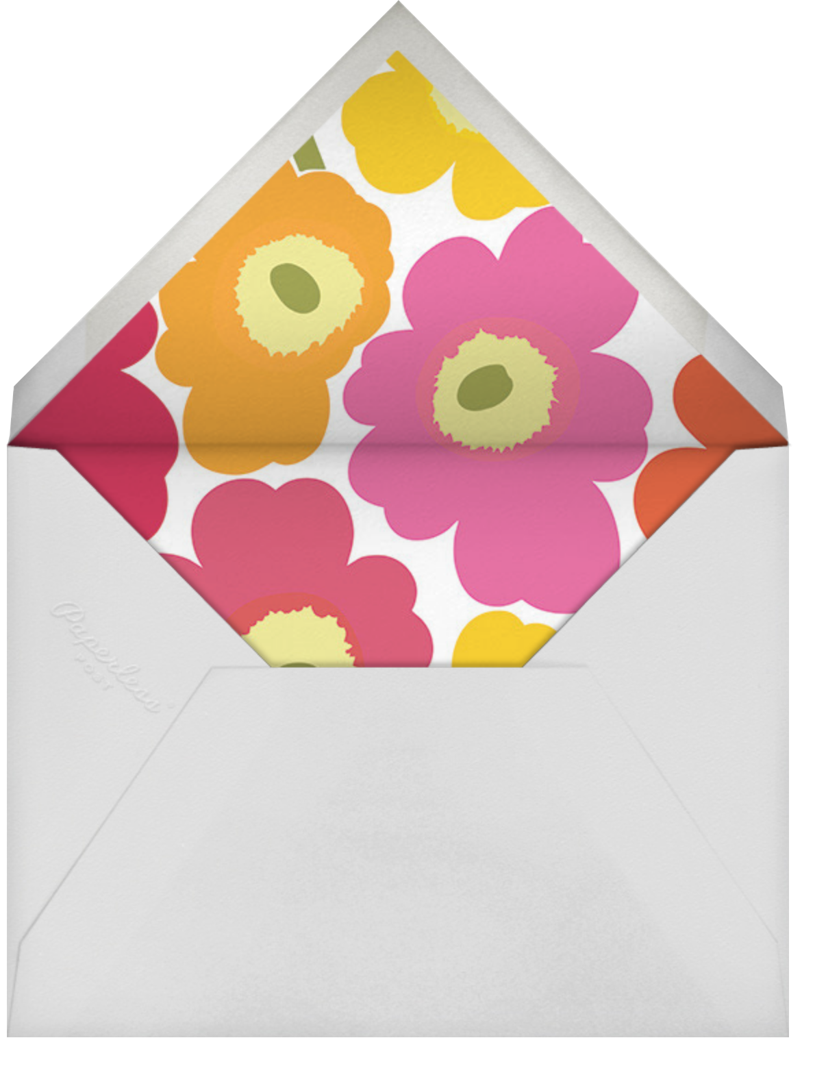 Unikko (Square) - Pink Multi - Marimekko - Birthday - envelope back