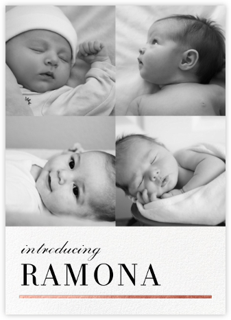 Underscore (Multi-Photo) - Rose Gold - Paperless Post - Birth Announcements