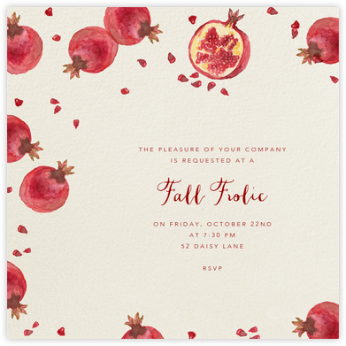 Watercolor Pomegranate - Paperless Post - Fall Entertaining Invitations