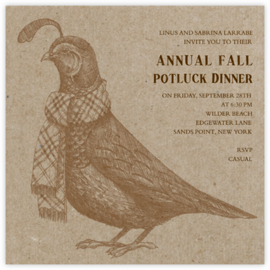 Quail and Scarf - Chipboard - Paperless Post - Fall Entertaining Invitations