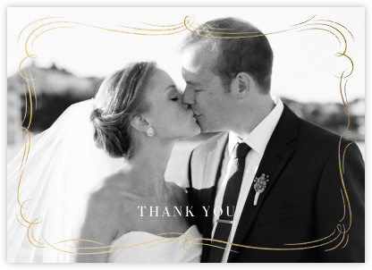 Plume (Photo Stationery) - Gold - Paperless Post - Wedding thank you cards