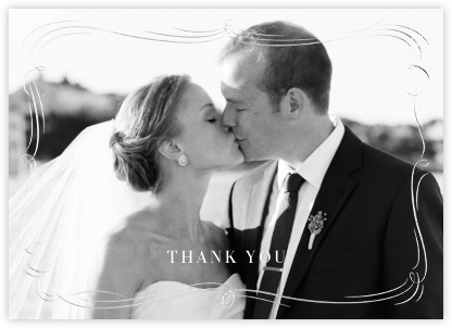 Plume (Photo Stationery) - Silver - Paperless Post - Wedding thank you notes