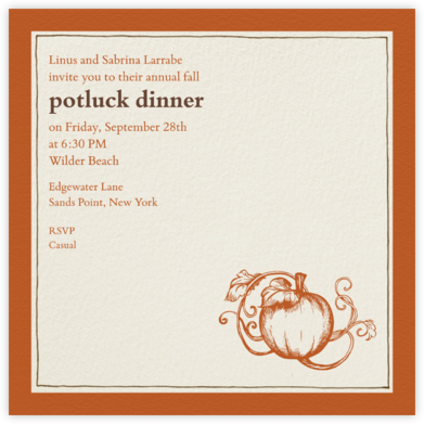 Drawn Seal Border - Pumpkin - Paperless Post